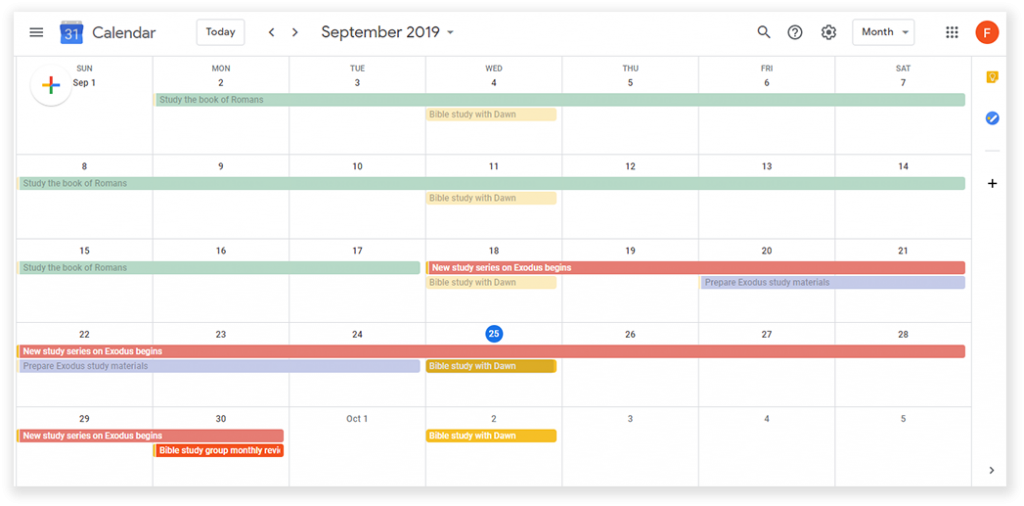 Planning - GOOGLE CALENDAR - Sample - DS
