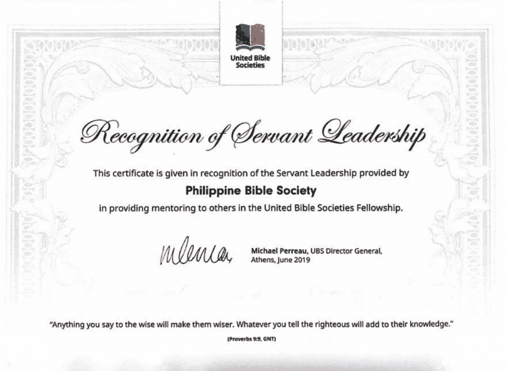 Philippine Bible Society Certificate of Servant leadership