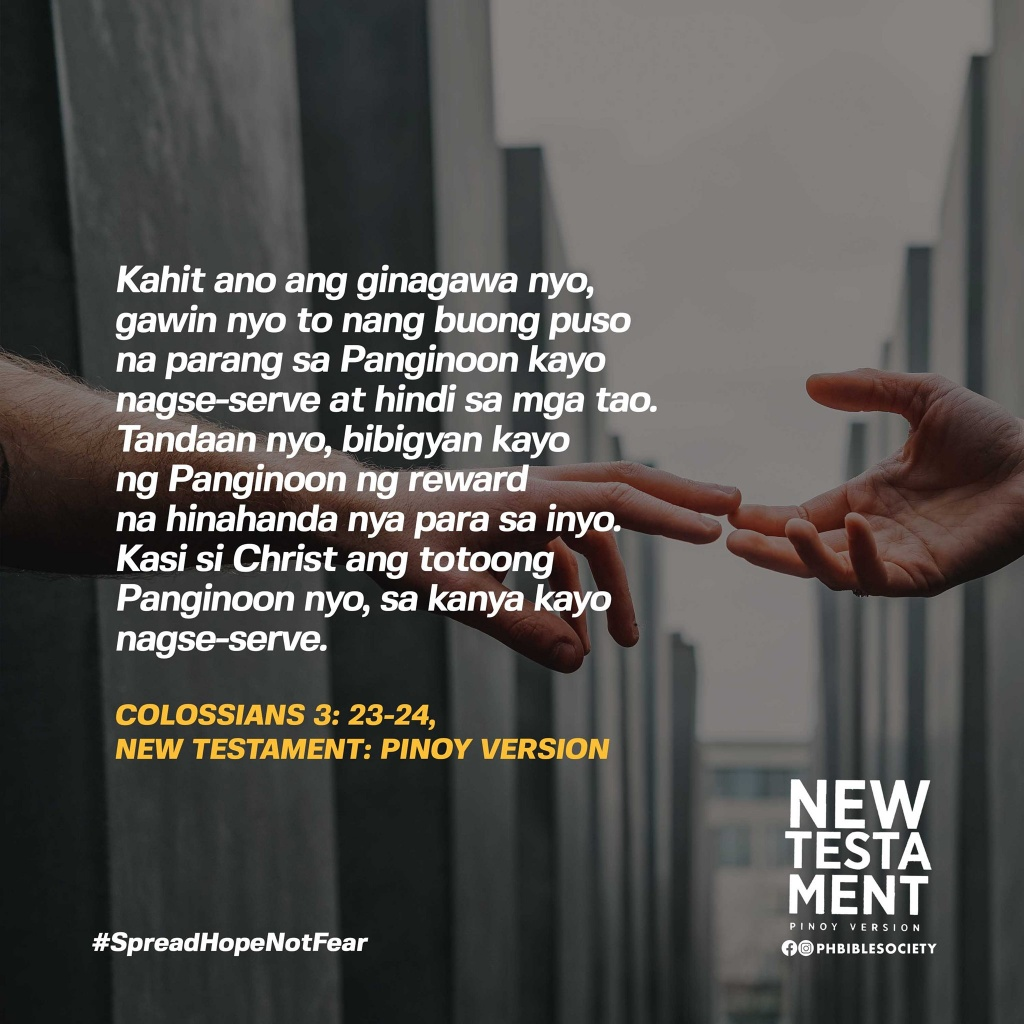 Colossians 3 23 24 Pinoy Version PVNT - Philippine Bible Society