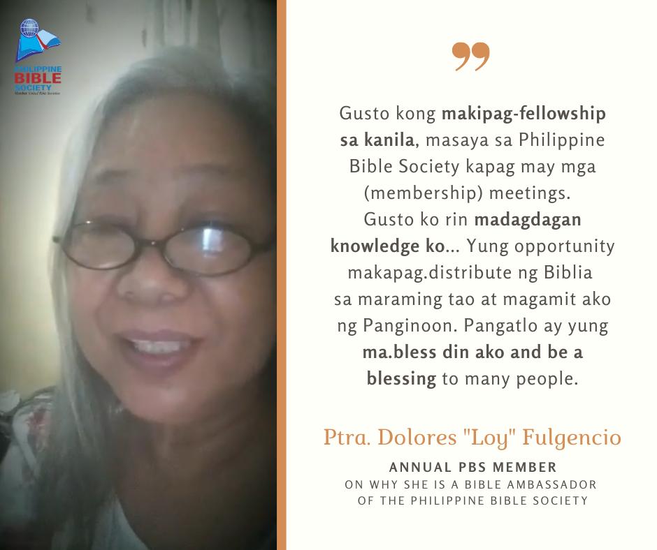 Ptra. Dolores 22Loy22 Fulgencio Testimony - Philippine Bible Society