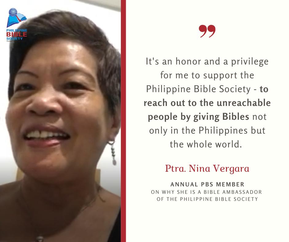 Ptra. Nina Vergara Testimony - Philippine Bible Society