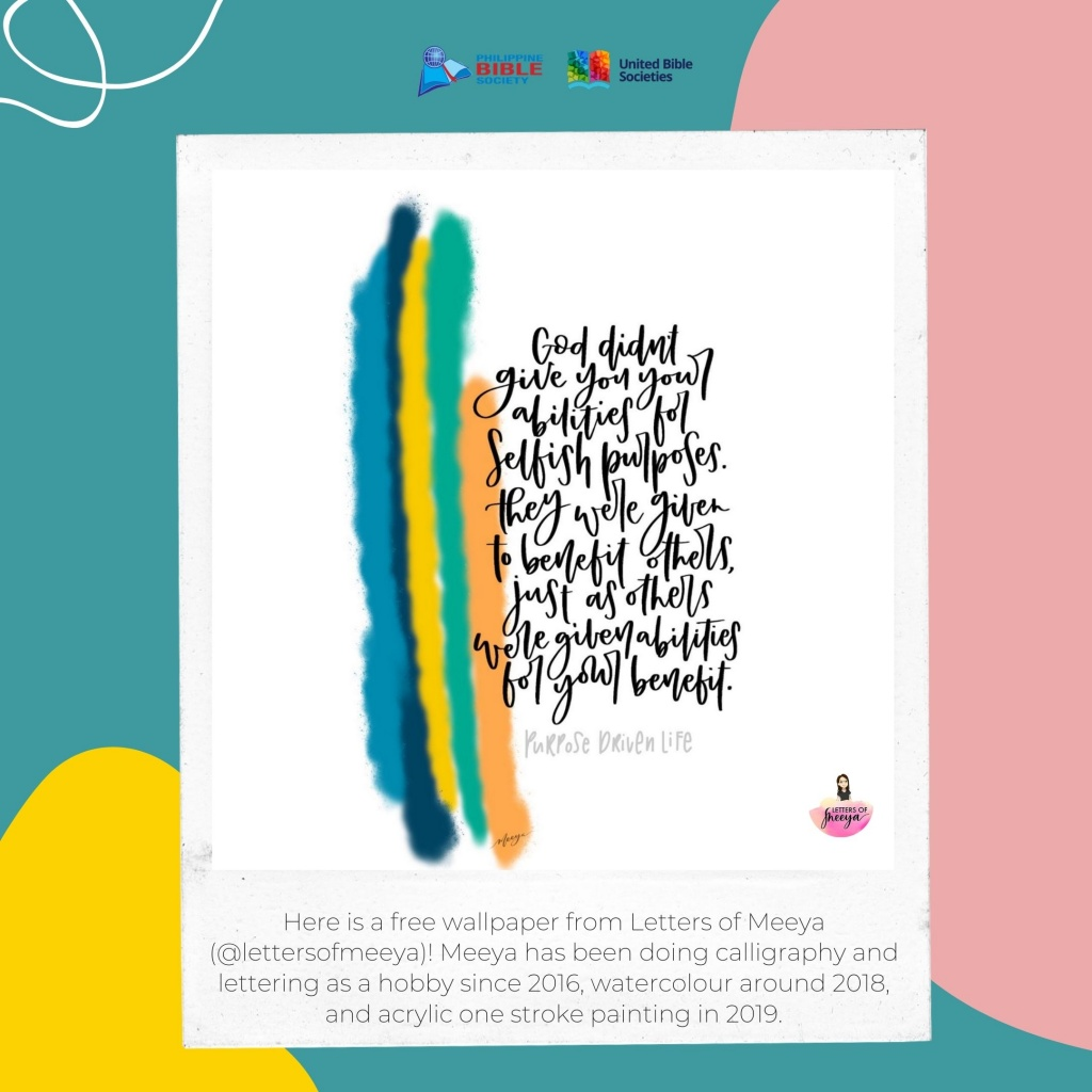 calligraphy art from @lettersofmeeya - Philippine Bible Society